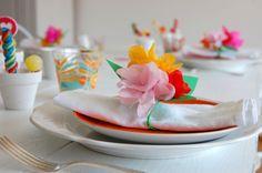 Tischdeko in Sommerfarben
