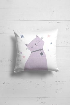 Cat pillow for kids by OttoandPixelsDesign on Etsy