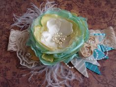 Spring/Summer Headband, Baby Girl Headband,Shabby Chic Headband, Baby/Newborn Headband, Lace Hair Accessory, Matilda Jane, Persnickety via Etsy