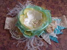 Spring/Summer Headband, Baby Girl Headband,Shabby Chic Headband, Baby/Newborn Headband, Lace Hair Accessory, Matilda Jane, Persnickety via Etsy