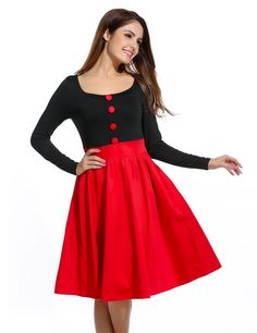 Red black Women Pleated Long Sleeve Vintage Style Contrast Color High Waist Casual Dresses