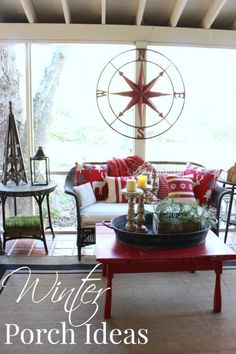 Winter Porch Ideas with large compass rose, large handled tray and pillar candlesticks for sale at Vintage American home.com