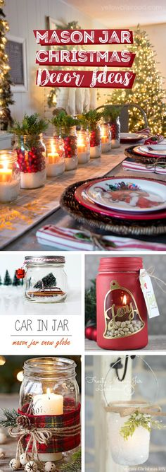 25 Endearing Mason Jar Christmas Decor Ideas That are Another Word for Enchanting! This collection of mason jar Christmas decor ideas will glorify your festive celebrations without a doubt. Mason Jar Christmas Decorations, Mason Jar Christmas Gifts, Christmas Lanterns, Mason Jar Gifts, Christmas Tea, Mason Jar Diy, Xmas Decorations, Simple Christmas, Christmas Crafts