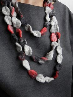 Long felted long necklace, unusual jewelry, felt necklace multicolor, grey red…