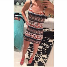 LF Dress Soft tank dress with open swoop in back. In great condition! Color is bright and not washed out. Bought from LF #dresses #dress #bodycon #tank #tribal #LF #tankdress #pattern #lf #summer #boutique #fun #datenight LF Dresses Mini