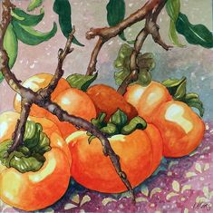 """Daily Paintworks - """"Safe After the Frost Persimmon Watercolor painting"""" - Original Fine Art for Sale - © Alida Akers Watercolor Fruit, Watercolor Paintings, Original Paintings, Watercolours, Original Art, Rembrandt, Prismacolor, Vegetable Painting, Cottage Art"""