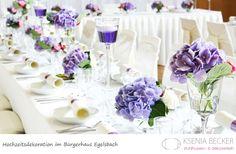 buergerhaus egelsbach hochzeitsdekoration tischdekoration mit hortensien rosen