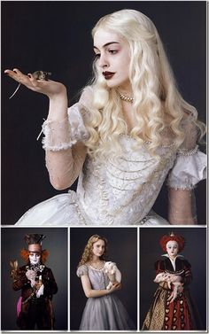 The entire cast of Tim Burton's film is absolutely fabulous.Anne Hathaway as the White Queen, Johnny Depp as the Mad Hatter, Mia Wasikowska as Alice, and Helena Bodham Carter as the Red Queen. Totally in the mad way of Tim Burton Film Tim Burton, Tim Burton Art, Tim Burton Characters, Colleen Atwood, Mia Wasikowska, Johny Depp, Movie Costumes, Tim Burton Costumes, Helena Bonham Carter