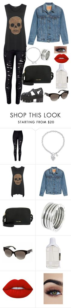"""Outfit #688"" by sofi6277 on Polyvore featuring moda, WithChic, GUESS, WearAll, Levi's, Calvin Klein, Bulgari, Prada, Burberry y Lime Crime"