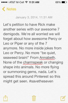 #SAVETHESEVEN other fandoms help the Percy Jackson fandom if we r supposed to be united