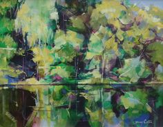 Cannop Ponds acrylic on canvas semi abstract landscape painting 51 x 41cm Ref: 014-008
