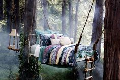 No need to build a whole tree house.just a tree bed! I bed it would rock a bit too. Very rock a by baby in the tree tops huh? Outdoor Spaces, Outdoor Living, Outdoor Bedroom, Outdoor Beds, Outdoor Fabric, Outdoor Tub, Tree Bed, Tree Canopy, Relax