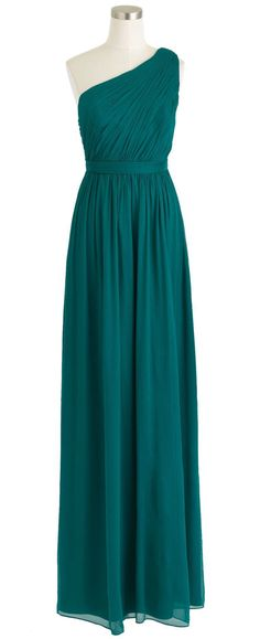 One-shoulder turquoise long prom dress