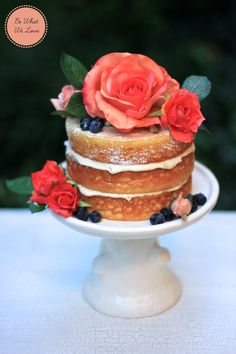 I've been obsessed with naked cakes since last year, you might remember my berry layer sponge cake, which had a naked look.  A couple days ago, I decided to bake another cake with the naked look an...
