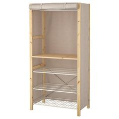 IVAR Shelving unit w shelves/rails/cover, beige, cm. Now in the IVAR storage system there is also a clothes rail, wire shelf and cover. Perfect if you want to create a simple wardrobe. Clothes Rail Ikea, Clothes Shelves, Ikea Open Wardrobe, Simple Wardrobe, Metal Shelving Units, Wire Shelving, Kallax, Ivar Regal, Stainless Steel Shelving