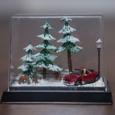 When do you buy your christmastree? #xmas #xmasdecoration #christmas #diorama #miniature #convertible #red #car #gift #idea #karácsony #ajándék #ötlet #budapest