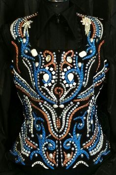 Show Diva Designs black, blue and bronze hand painted vest with large pearls and crystals. Size large. www.showdivadesigns.com