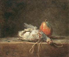 JEAN-BAPTISTE SIMÉON CHARDIN - STILL LIFE WITH PARTRIDGE AND PEAR, 1748