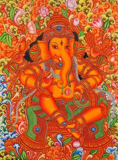 Lord Ganesha in the Style of Mattanchery Palace Murals