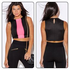Black And pink crop top Sexy and trendy crop top multipurpose must have 95% polyester 5% spandex Tops Crop Tops