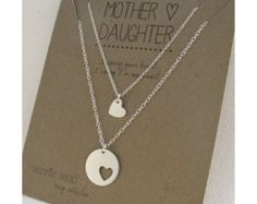 Mother Daughter Necklace Set - hearts necklace - mother necklace - silver - mother daughter jewelry - mom necklace - graduation gift