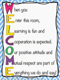 I saw this Welcome phrase over on Pinterest and knew I had to have it in my classroom.  I tried writing it out on anchor chart paper, but then I decided to go designing it on the computer.  Yes, I kno