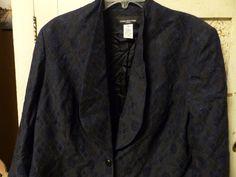 JONES NEW YORK WOMAN Blazer Navy Shawl Collar Peplum Back 18W 20W Sale $239 #JonesNewYork #Blazer
