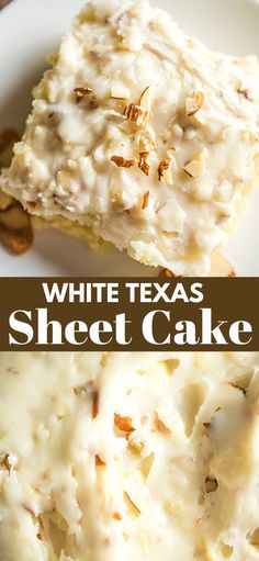 original_title] – Bunny's Warm Oven WHITE TEXAS SHEET CAKE This is a delicious, creamy, moist cake with a nice crunch to it because of the almonds. And let's not forget that it will feed a nice bunch of people! Köstliche Desserts, Delicious Desserts, Dessert Recipes, Health Desserts, Delicious Chocolate, White Desserts, Homemade Desserts, White Texas Sheet Cake, Texas Sheet Cakes