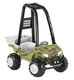 American Plastic Toy Camo Sport Atv by American Plastic Toys. $44.97. From the Manufacturer                This rugged ATV features camouflage styling as well as off-road sounds, oversized knobby wheels, full steering, role bars and working dump bed. Measures 36 1/4 inches  21 inches  35 3/8 inches Requires AA batteries not included.                                    Product Description                Get your little one out on this tough ATV ride-on. This rugged ...