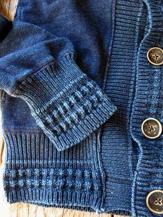 Denim sweatshirt with knitted sleeve cuffs and hem