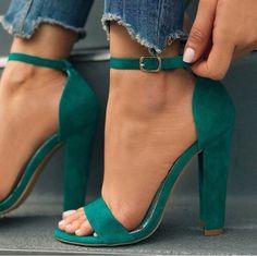 olive velvet high heel sandals Olive velvet sandals with a high heel High Heels Boots, Shoe Boots, Shoes Heels, Green High Heels, Emerald Green Outfit, Emerald Shoes, Teal Heels, High Sandals, Strappy Shoes