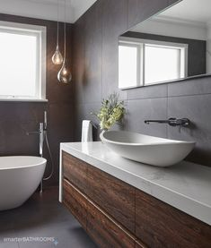 Bathroom Renovations Melbourne 2019 We love the pendants in our Essendon bathroom to create mood. The post Bathroom Renovations Melbourne 2019 appeared first on Bathroom Diy. Bathroom Sink Cabinets, Small Bathroom Tiles, Laundry In Bathroom, Bathroom Renos, Bathroom Layout, Modern Bathroom Design, Bathroom Interior Design, Bathroom Ideas, Bathroom Vanities