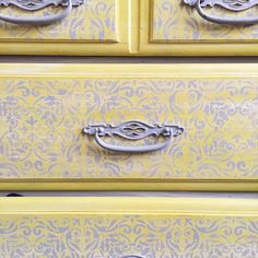 "Drawer fun!! English Yellow and Paris Grey Chalk Paint are a great combo for dresser drawers. Phoenix Refinishing says, ""This piece is in our kiddos bedroom. I painted it over a year ago. Chalk Paint® + Wax = super durable!"