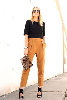 Office look | Black crop top with burned orange trousers and heels