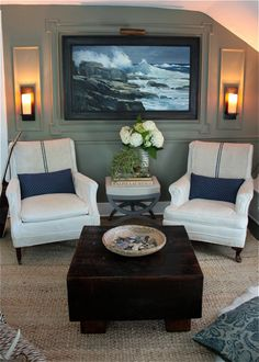 twin arm chairs, beach painting, preppy interior
