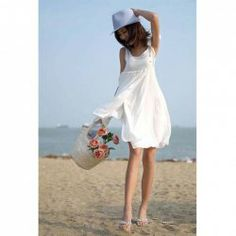 New Arrival Lady Style Sleeveless White Beach Dress For Women (WHITE,FREE SIZE) China Wholesale - Sammydress.com