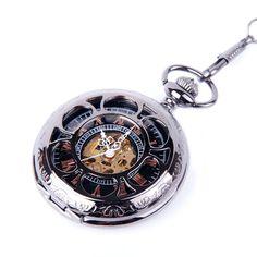 Skeleton Pocket Watch Chain Mechanical Hand Wind Half Hunter Vintage Look Value Quality - PW19, (pocket watch, pocket watches, time piece, watches, steampunk)