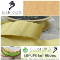 Made from Recycled Plastic bottles and to the same high quality of the world renowned Berisfords 3501 Satin ribbon. Ribbon Bows, Ribbons, World Crafts, How To Make Ribbon, Recycle Plastic Bottles, Recycling, Satin, Honey, Range