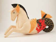 In 2007 I made my first stuffed animal, a red horse, out of red polyester craft felt from my own pattern. I have been making animals ever since, and I've Felt Fabric, Fabric Dolls, Cute Ponies, Soft Sculpture, Sculptures, Kawaii Plush, Love Sewing, Felt Art, Felt Crafts