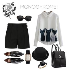 """Cat's "" by jasive-asseff-jamous ❤ liked on Polyvore featuring Yves Saint Laurent, Chanel, RED Valentino, Forever 21, Pomellato and monochrome"