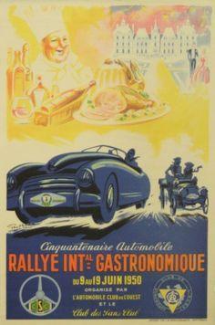 Gastronomical Rallye, 1950 - original vintage poster by Geo Ham listed on AntikBar.co.uk
