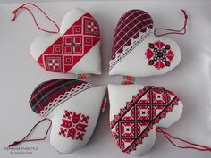 Ручная работа by natulja-best: Belarussian hearts decorated with embroidery Cross Stitch Christmas Ornaments, Xmas Cross Stitch, Christmas Tree Toy, Cross Stitch Heart, Cross Stitch Cards, Christmas Cross, Cross Stitching, Folk Embroidery, Cross Stitch Embroidery