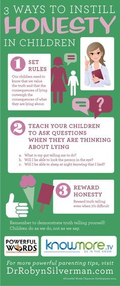 INFOGRAPHIC - 3 Ways to Instill Honesty in Children We are teaching this as part of integrity month at Sidekicks Family Martial Arts Center in Lithia, FL #kidslovemartialarts #lithiafl #fishhawk #fishhawkranch #powerfulwords #character #education #parenting http://www.lithiamartialarts.com