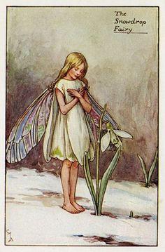 Snowdrop Flower Fairy Vintage Print c1927 Cicely by TheOldMapShop