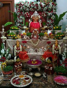 Diy Diwali Decorations, Festival Decorations, Flower Decorations, Table Decorations, Ganesh Pooja, Desi Wedding Decor, Silver Pooja Items, Saraswati Goddess, Pooja Room Door Design