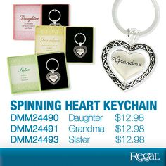 "SPINNING HEART KEYCHAIN - From Regal Gifts Lovely metal keychain features a spinning heart with a sparkling rhinestone accent. Comes in a gift box with a thoughtful message. 2-3/4""L x 1-1/2""W."