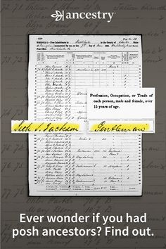 Ever wonder if you had posh ancestors? Find out. Free Genealogy Sites, Genealogy Forms, Genealogy Chart, Genealogy Research, Family Genealogy, Genealogy Humor, Ancestry Free, Family Tree Research, Genealogy Organization