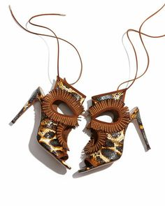 Aquazzura | Snakeskin Fringe Cutout Sandal