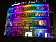 Our LED Lighting on the Commercial Bank of Qatar, Doha. Installation by Mark Hayes at Audio North West #LED #Rainbow #Lighting #Doha #Colourful