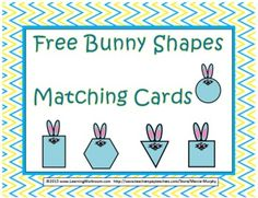 Free Bunny 2D Shapes Matching Cards Set